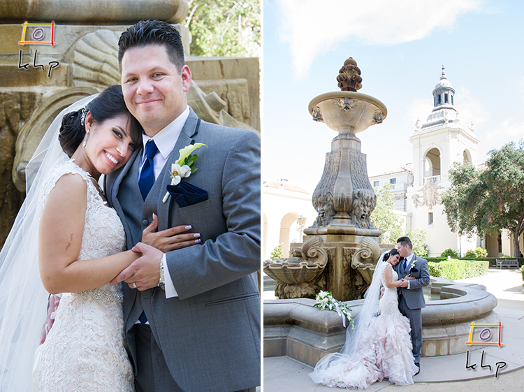 Newlyweds Portraits by the fountaine at the Pasadena City Hall