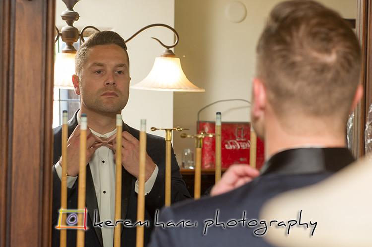 The groom is getting ready at The Villa San Juan Capistrano
