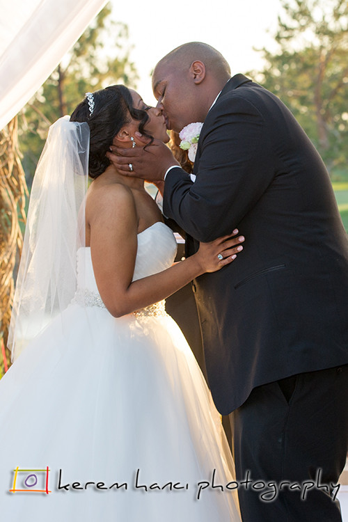 First Kiss as husband and wife at the Tustin Ranch Golf Club