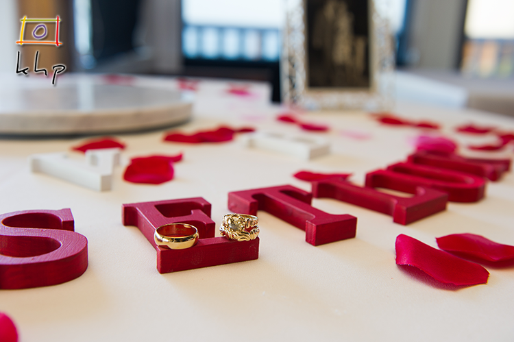 The wedding rings on a lovely setup at Duke's in Malibu, CA