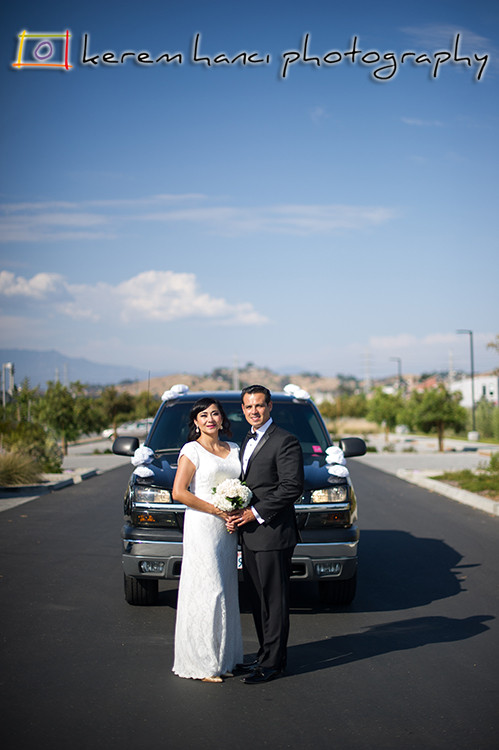 Bride and Groom Portraits at Los Angeles Historic State Park in Chinatown