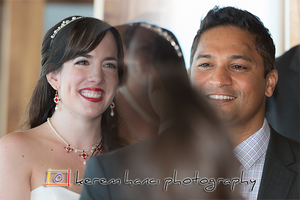 A composite shot of the couple during the wedding ceremony at Duke's Malibu