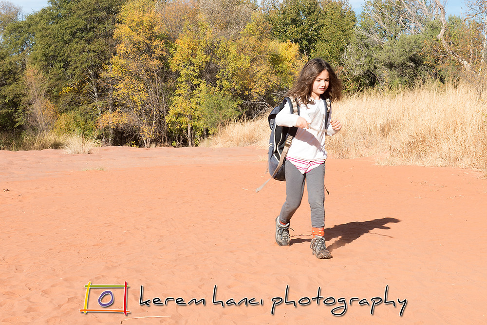 """Vivienne insisting to be the """"backpacker"""" in the beginning of our hike"""