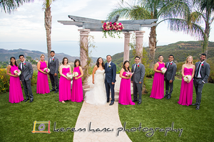 The Wedding Party by the altar overlooking the cliff and the Pacific Ocean