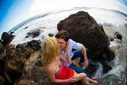 Malibu Point Dume Engagement Kiss