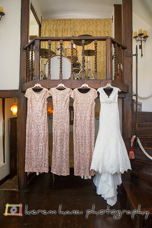 The bride's gown and the bridesmaids dresses at The Villa San Juan Capistrano