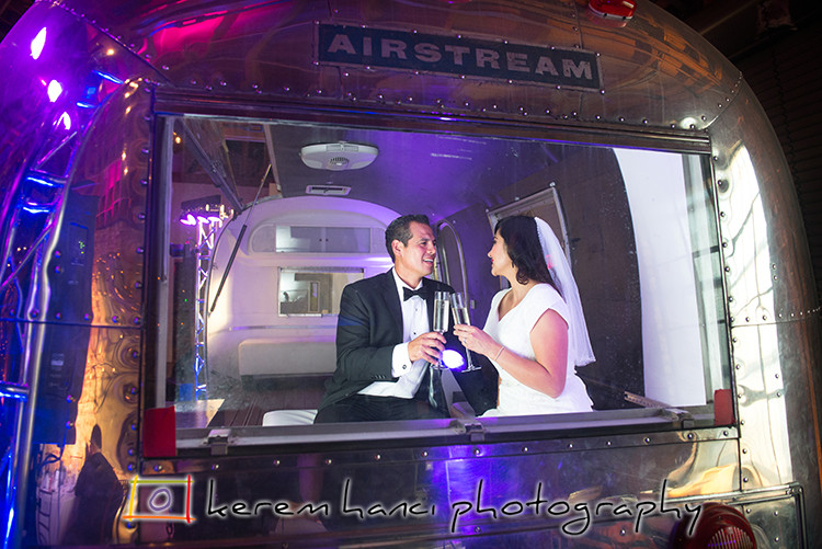 An Airstream RV is part of the decor at the Event Venue LA River Studios