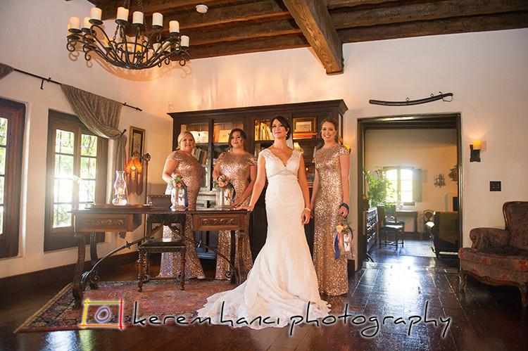 The bride with her bridesmaids at The Villa San Juan Capistrano
