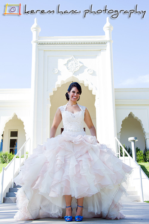 The beautiful bride in front of the Brand Library in Glendale, CA