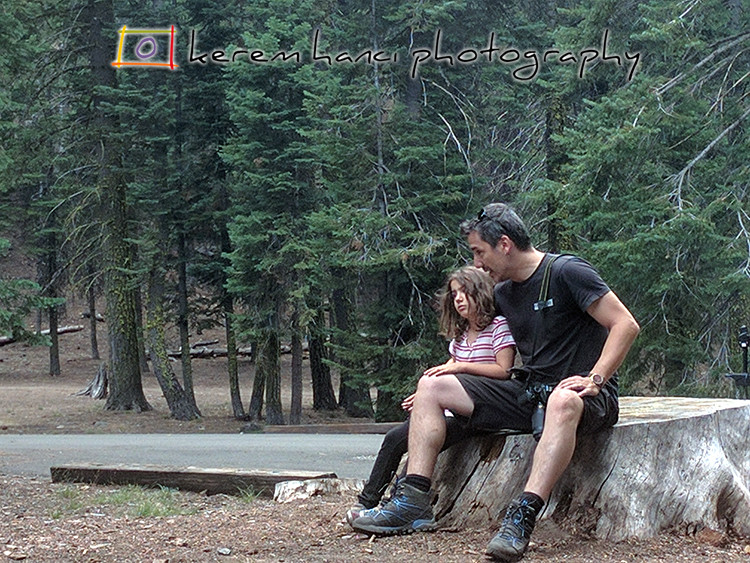 Father-Daughter serious conversation at the Manzanita Lake Campground in the Lassen Volcanic National Park