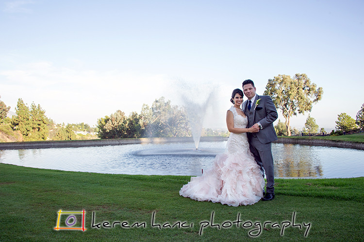 The newlyweds at La Cañada Flintridge Country Club before the reception