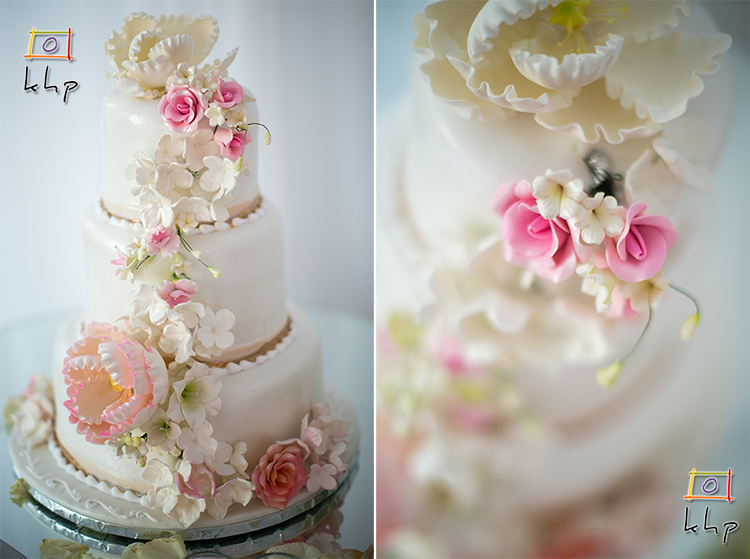 The full wedding cake and detail.