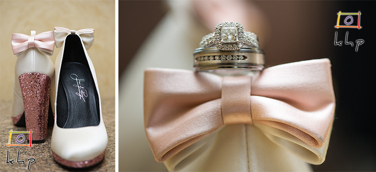 The bride's shoes and the wedding rings