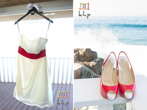 The wedding dress and the wedding shoes at Malibu's Duke's.