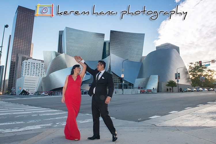 Downtown Los Angeles Engagement Photography in front of Walt Disney Concert Hall