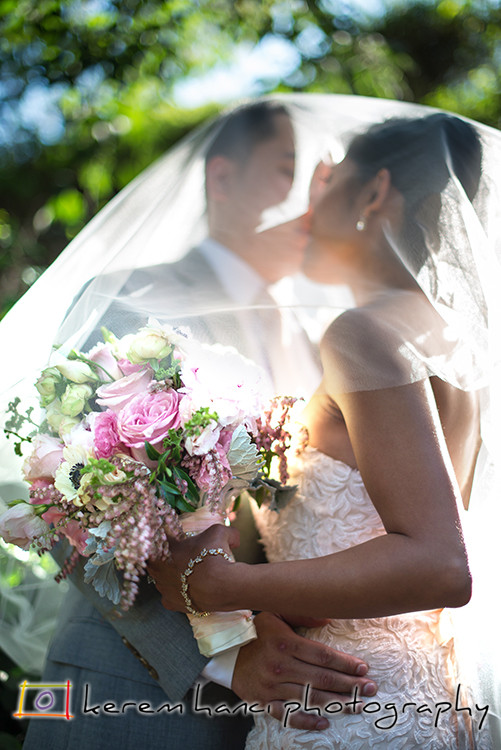 Bride and Groom Kiss at the Altadena Town & Country Club