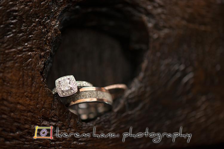 The wedding rings and the engagement ring at The Villa San Juan Capistrano