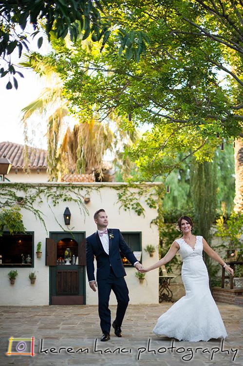 Bride and groom at The Villa San Juan Capistrano
