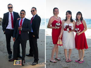 Groomsmen and Bridesmaids on Duke's private beach in Malibu, CA