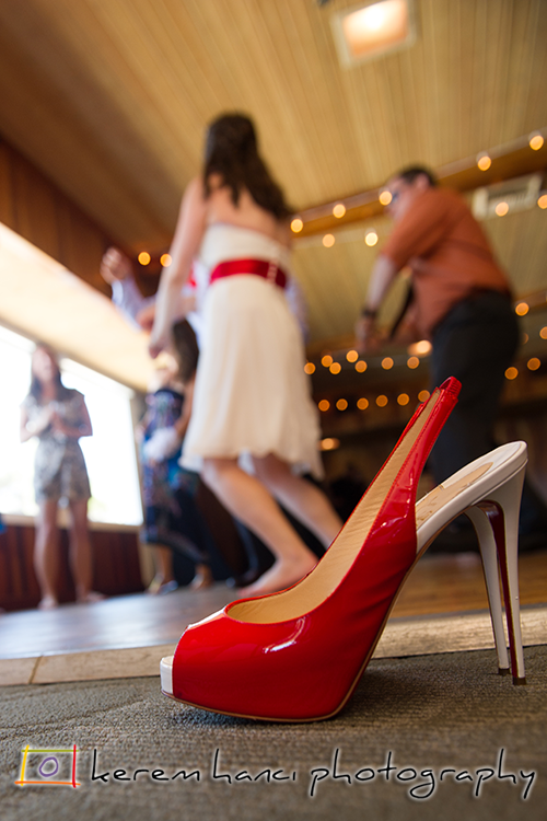The bride left her shoes by the side of the dance floor for a more relaxed afternoon
