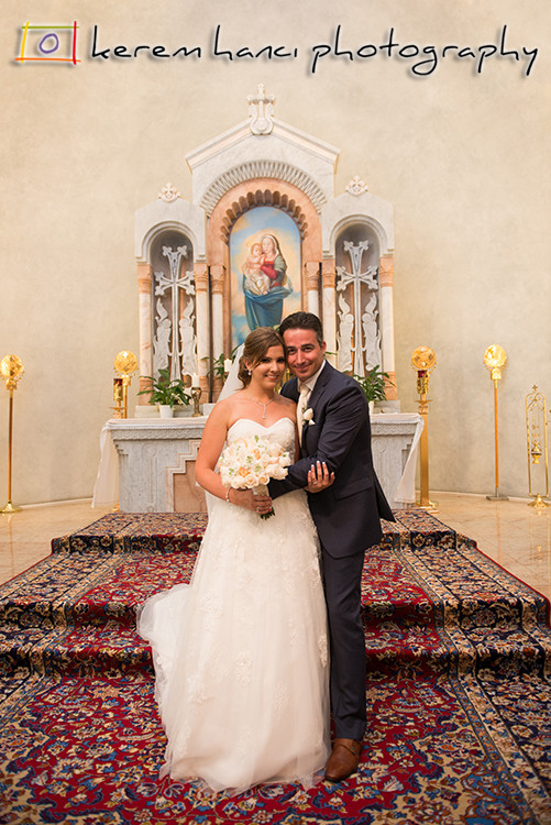 The newlywed couple at St. Gregory Armenian Catholic Church in Glendale, CA