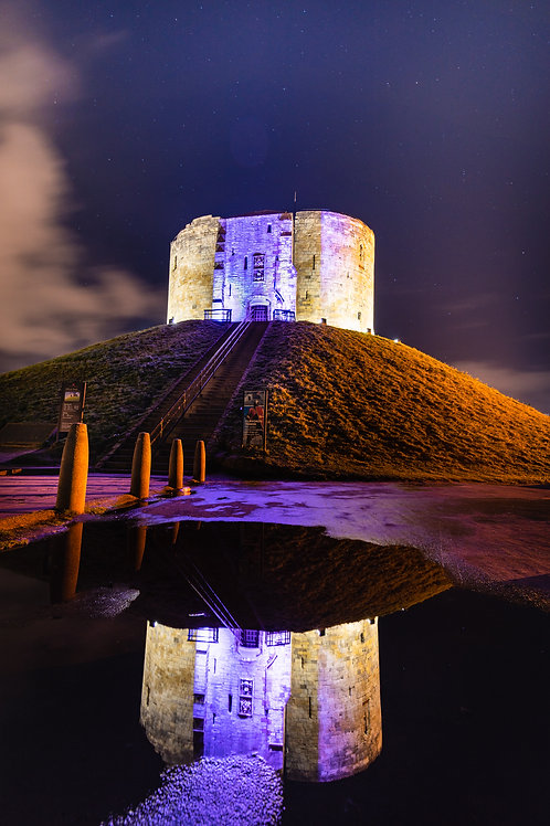 Cliffords Tower by night, reflection