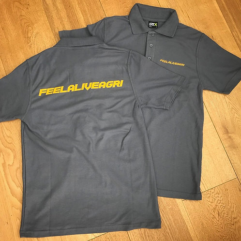 FEELALIVEAGRI Mens Solid Grey Polo