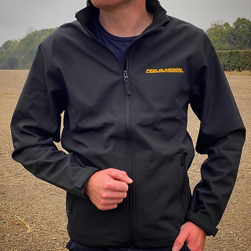 FEELALIVEAGRI Softshell Jacket Black/ Original Golden Yellow
