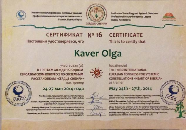 Сертификат участия в качестве мастера в Международном Конгрессе по системным расстановкам