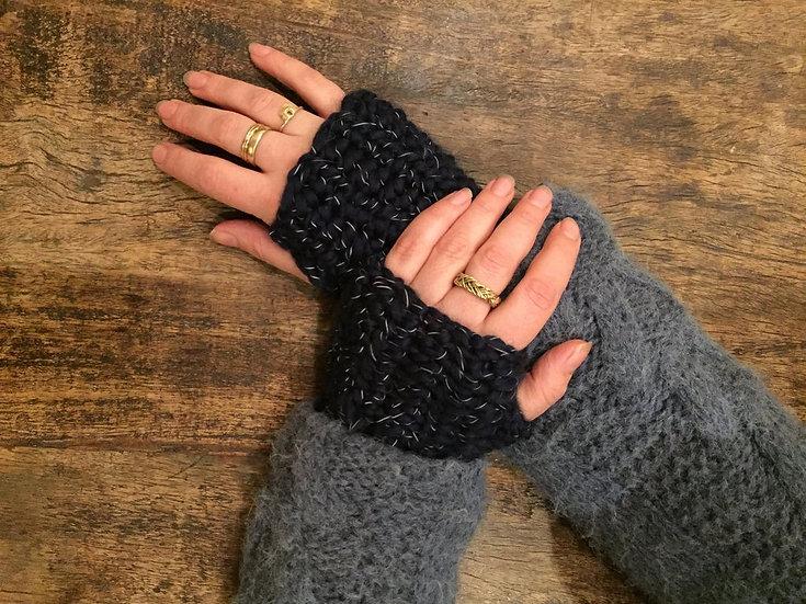 Glow fingerless gloves long