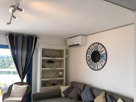 Remplacement climatisation par un Compact AP Mitsubishi MSZ-AP et un cache clim à Mandelieu
