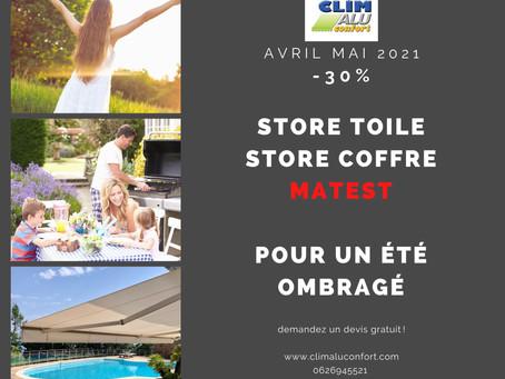 Store toile, Store coffre -30% Avril Mai 2021
