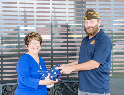 Marie Lanier with VFW Commander Keith Tremblay