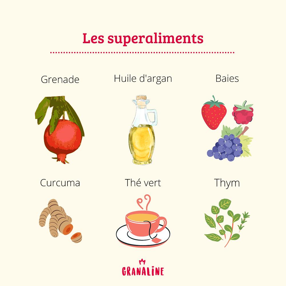 6 superaliments : la grenade, l'huile d'argan, les baies, le curcuma, le thé vert et le thym