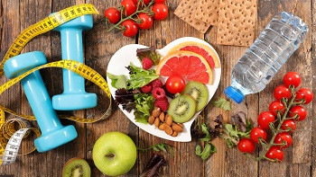 Healthy eating, fruit and nut bowl, water, whole wheat