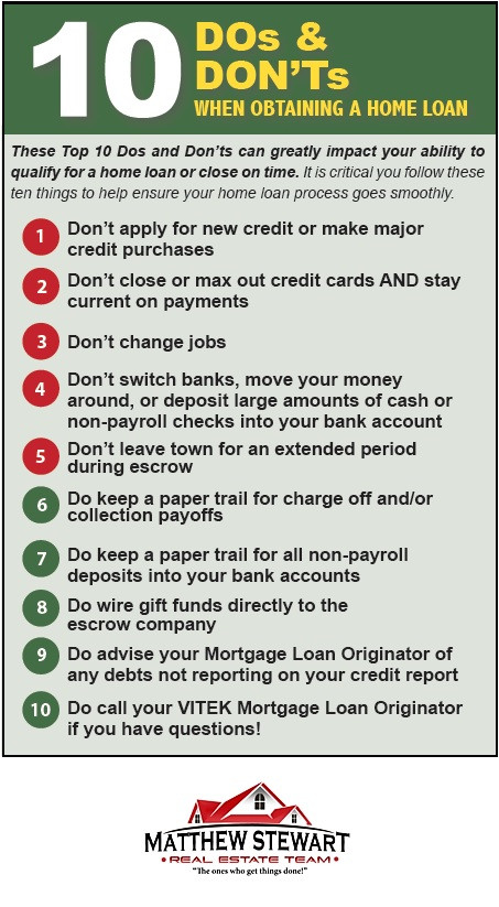 The DO'S and DON'TS when obtaining a home loan | Matthew Stewart Real Estate | Granite Bay |