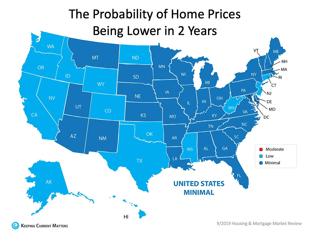 Probability of home prices being lower in 2 years state by state | Matthew Stewart Real Estate Team | Granite Bay | Roseville | Rocklin