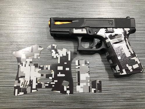 Glock  Black Digital Camo Vinyl Style Gun Grip Wrap Gun Parts Kit