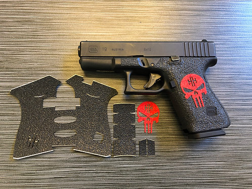 Glock 19/23/25/32/38 Black Textured Rubber /Color Sandpaper Skull Gun Grip Kit