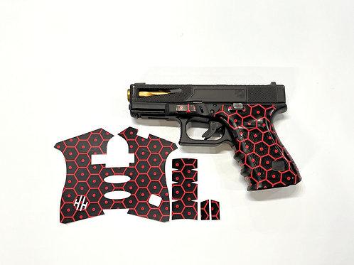 Tactical Red Hex Vinyl Style Gun Grip Wrap Gun Parts Kit
