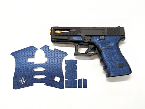 Blue Honeycomb Vinyl Style Gun Grip Wrap Gun Parts Kit