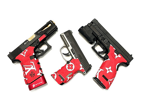 LOUIS VUITTON VERSION RED SANDPAPER GRIPS FOR VARIOUS FIREARMS