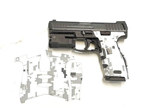 White Digital Camo Vinyl Style Gun Grip Wrap Gun Parts Kit