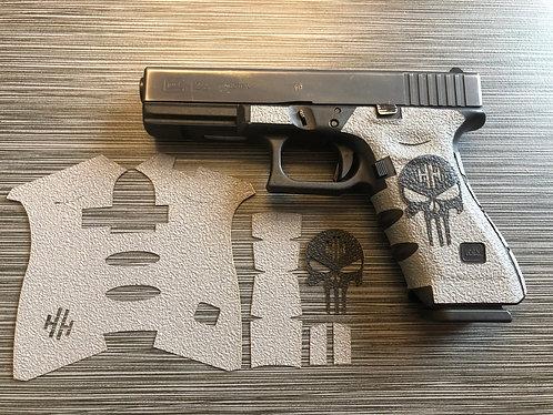 Glock 17/22/34/35 Gray w/ Color Skull Textured Rubber Gun Grip Kit