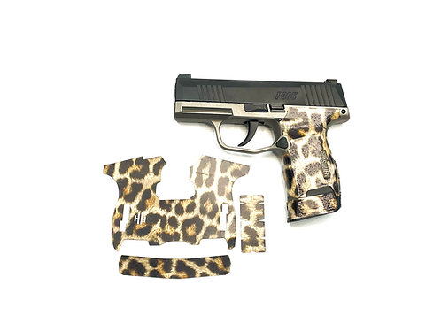Sig Sauer P365 Cheetah Print  Vinyl Style Gun Grip Wrap Gun Parts Kit
