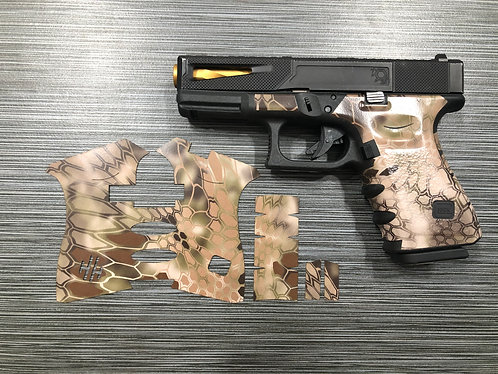 Brown Kryptek Vinyl Style Gun Grip Wrap Gun Parts Kit