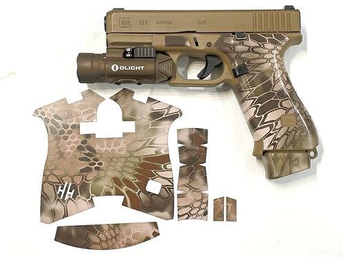 Brown Kryptek Vinyl Gun Grip Tape Wrap for Glock 19x and Glock 45