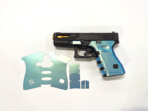 Turquoise  / Silver Green Color Shift Vinyl Style Gun Grip Wrap Kit