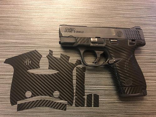Smith and Wesson Shield 9/40 Black Carbon Fiber Style Gun Grip Wrap Gun Part Kit