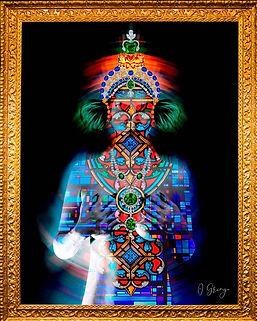 Natacha-_Saintes apparitions- collection LVMH - Vitraux - coiffe maya- galeria de arte Lisboa